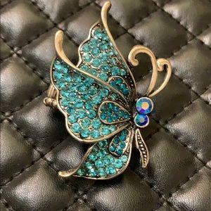 Betsy Johnson Silver Rhinestone Butterfly Ring